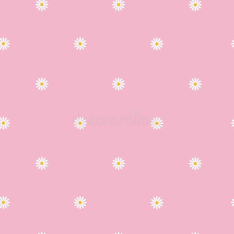 Teste padrão sem emenda com as flores pequenas da camomila no ornamento floral bonito do fundo cor-de-rosa ilustração royalty free