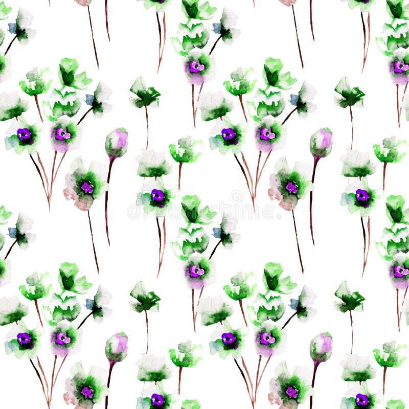 Teste padrão sem emenda com as flores selvagens azuis ilustração do vetor