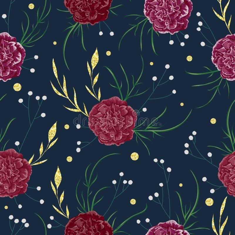 Teste padrão sem emenda com as flores vermelhas do cravo, o gypsophila e elementos florais decorativos com textura dourada da fol ilustração stock