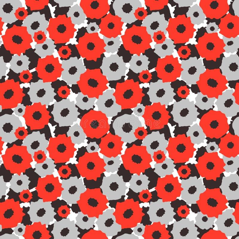 Teste padrão sem emenda com as flores vermelhas e cinzentas em um fundo preto e branco ilustração do vetor
