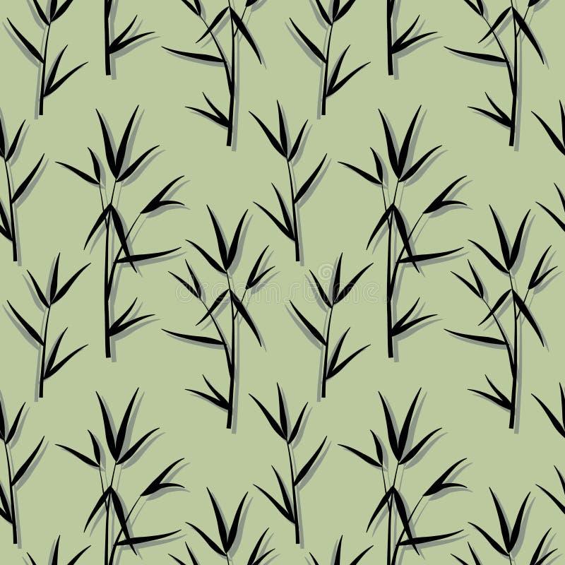 Teste padrão sem emenda com as folhas de bambu pretas e os ramos dos brotos no estilo japonês, fundo verde Vetor EPS 10 ilustração do vetor