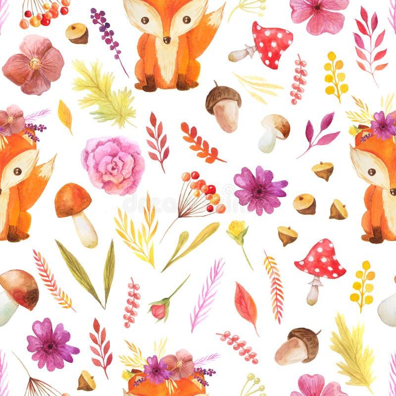 Teste padrão sem emenda com as folhas de outono da aquarela ilustração stock