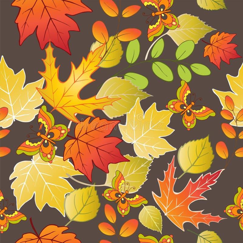 Teste padrão sem emenda com as folhas e as borboletas coloridas de outono Ilustração do vetor ilustração royalty free