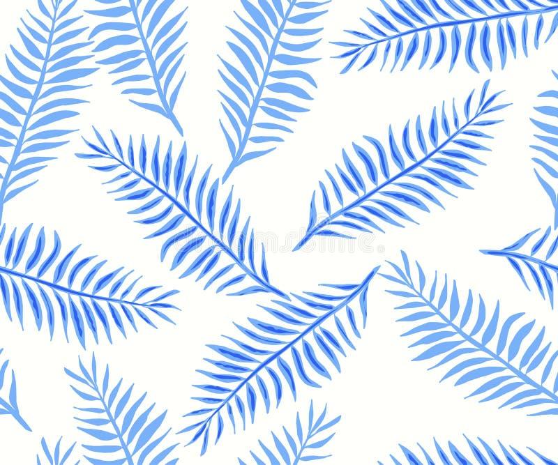 Teste padrão sem emenda com as folhas tropicais azuis imagens de stock royalty free