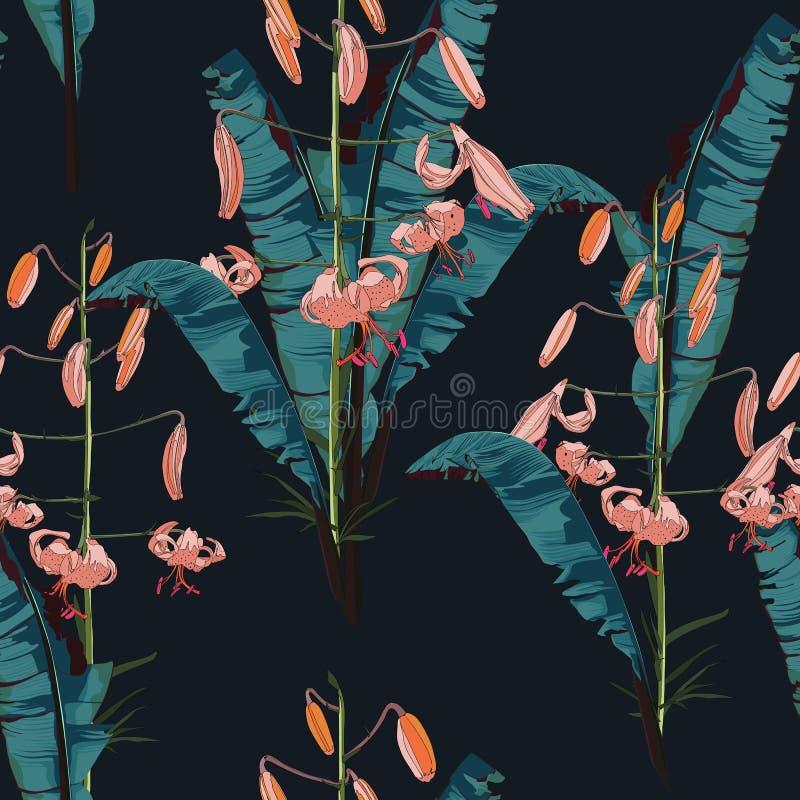 Teste padrão sem emenda com as folhas tropicais das bananas Folhas de palmeira e lírios no fundo preto ilustração do vetor