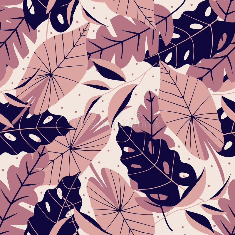Teste padrão sem emenda com as folhas tropicais escuras e leves Projeto do vetor foto de stock