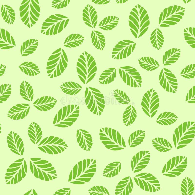 Teste padrão sem emenda com as folhas verdes da morango ilustração do vetor
