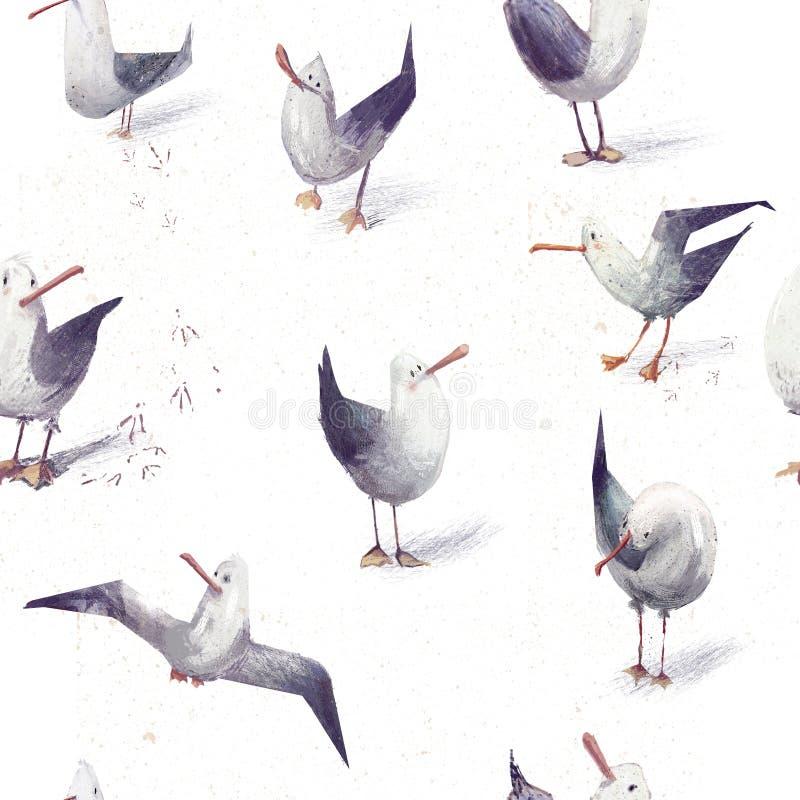 Teste padrão sem emenda com as gaivota bonitos dos desenhos animados foto de stock royalty free