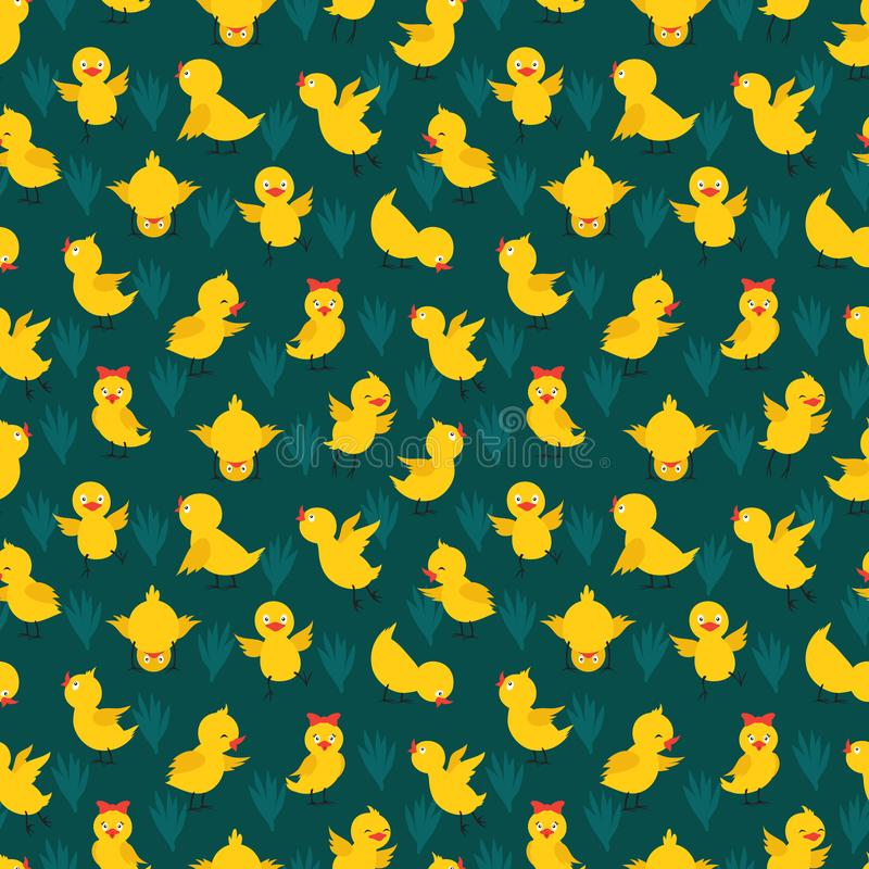 Teste padrão sem emenda com as galinhas amarelas do vetor bonito ilustração do vetor