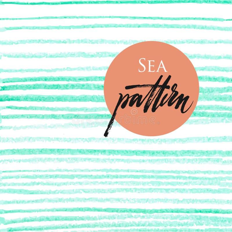 Teste padrão sem emenda com as listras azuis de oceano ilustração stock