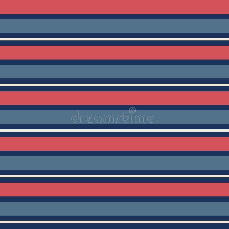 Teste padrão sem emenda com as listras horizontais azuis e vermelhas do vintage na repetição ilustração do vetor