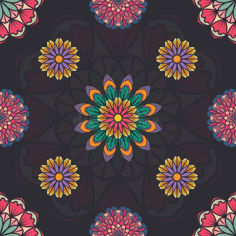 Teste padrão sem emenda com as mandalas coloridas múltiplas ilustração stock