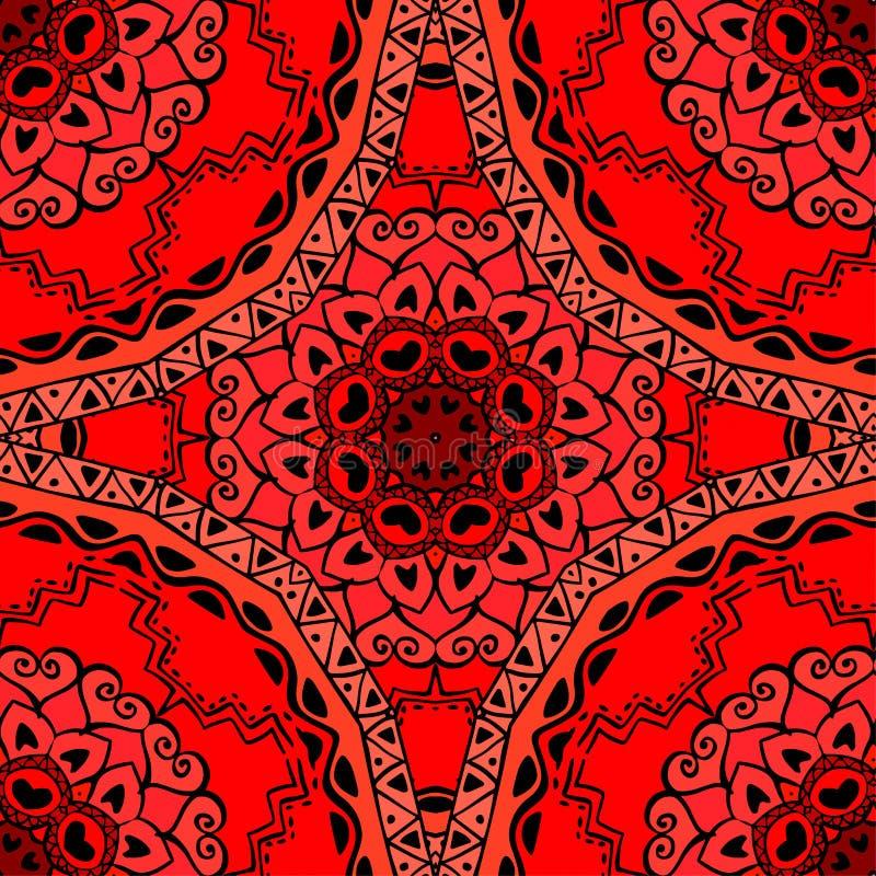 Teste padrão sem emenda com as mandalas nas cores da morango Ornamento do vetor, fundo ilustração stock