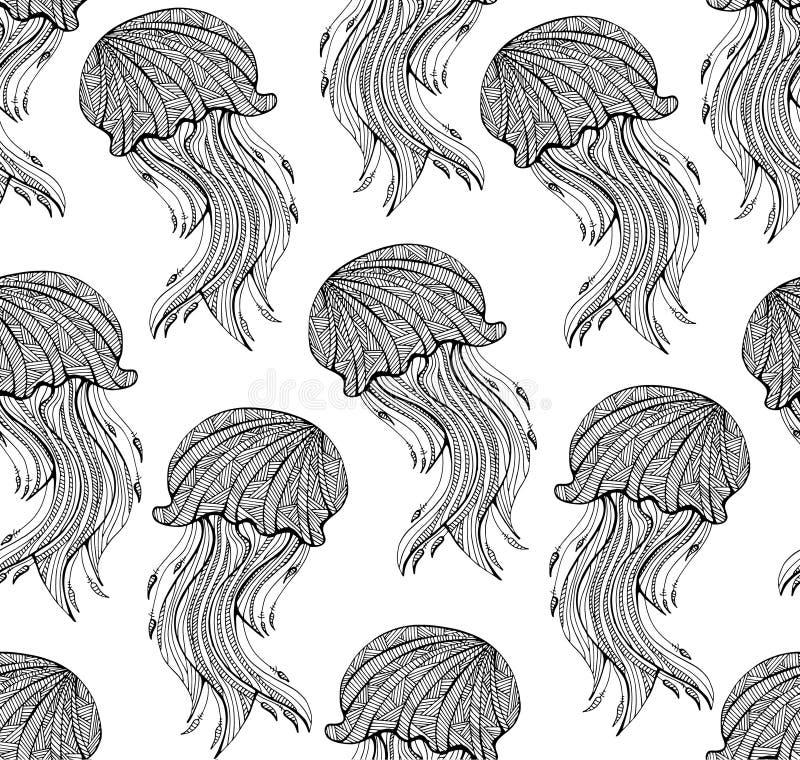 Teste padrão sem emenda com as medusa tiradas mão para a página adulta da coloração ilustração do vetor