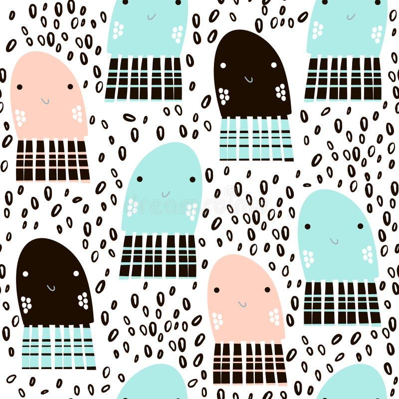 Teste padrão sem emenda com as medusas de animal de mar, peixes Textura criançola submarina para a tela, matéria têxtil Fundo do  ilustração do vetor