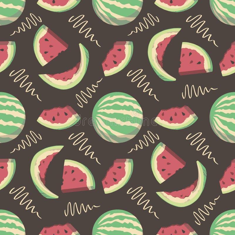 Teste padrão sem emenda com as melancias do fruto do verão dos desenhos animados no fundo preto ilustração royalty free