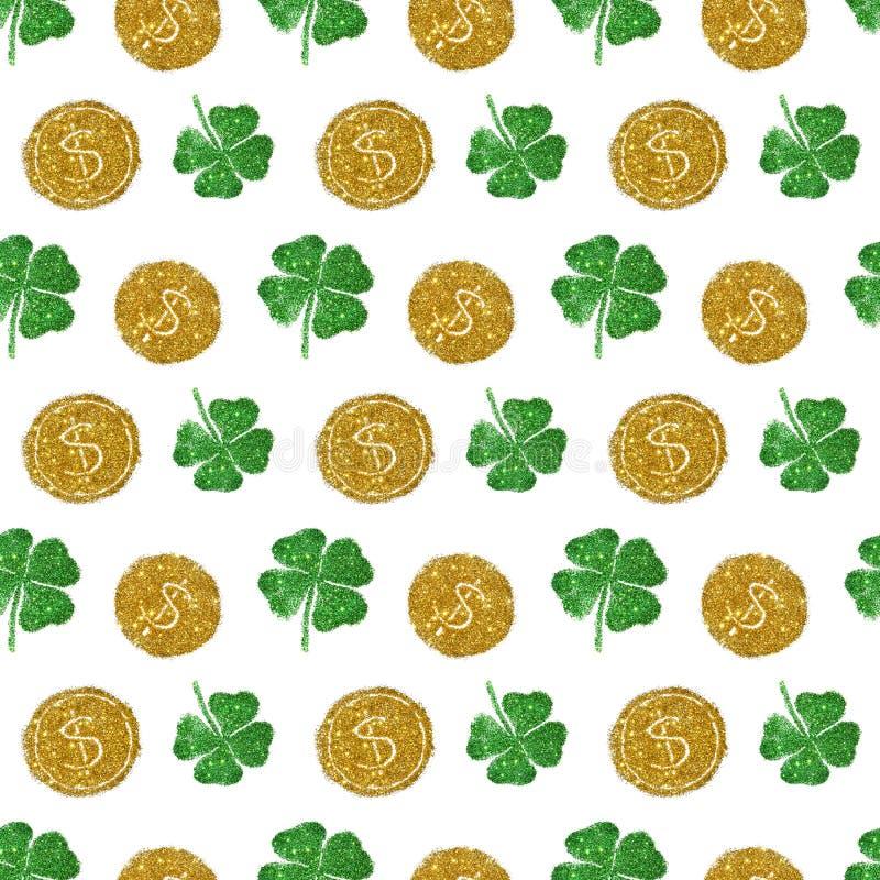 Teste padrão sem emenda com as moedas redondas do brilho dourado e os trevos de quatro folhas do brilho verde imagens de stock royalty free