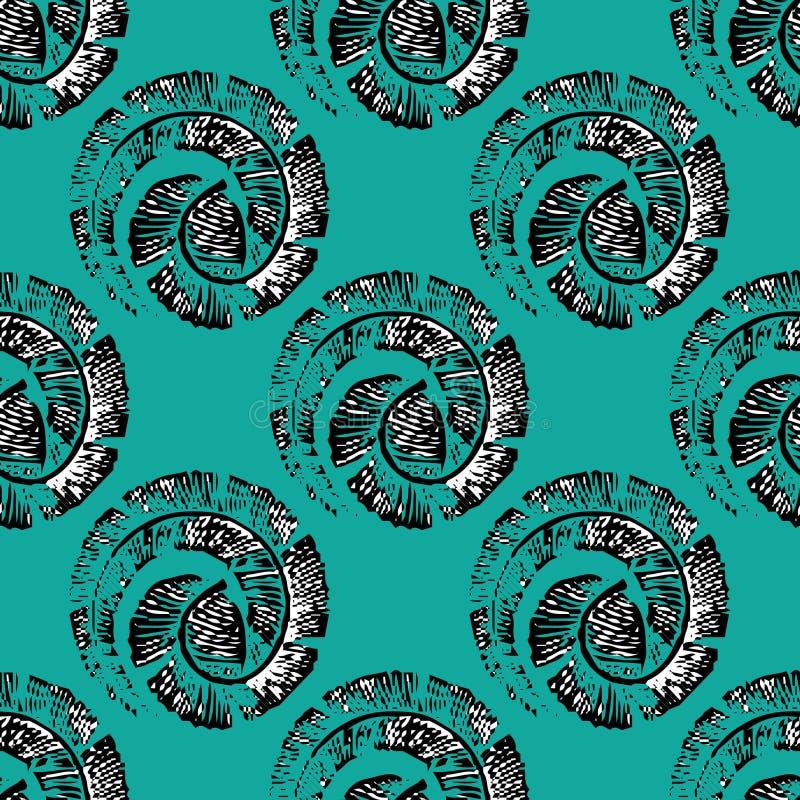 Teste padrão sem emenda com as penas na espiral no estilo linear ilustração do vetor