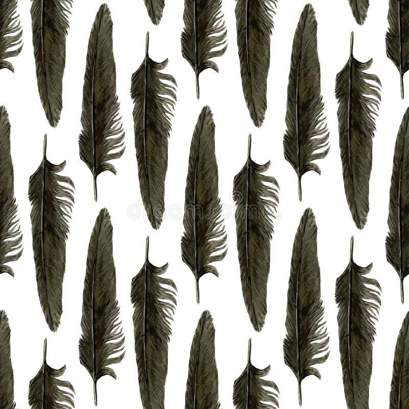 Teste padrão sem emenda com as penas pretas da aquarela Pena preta do corvo ilustração realística do vetor ilustração royalty free
