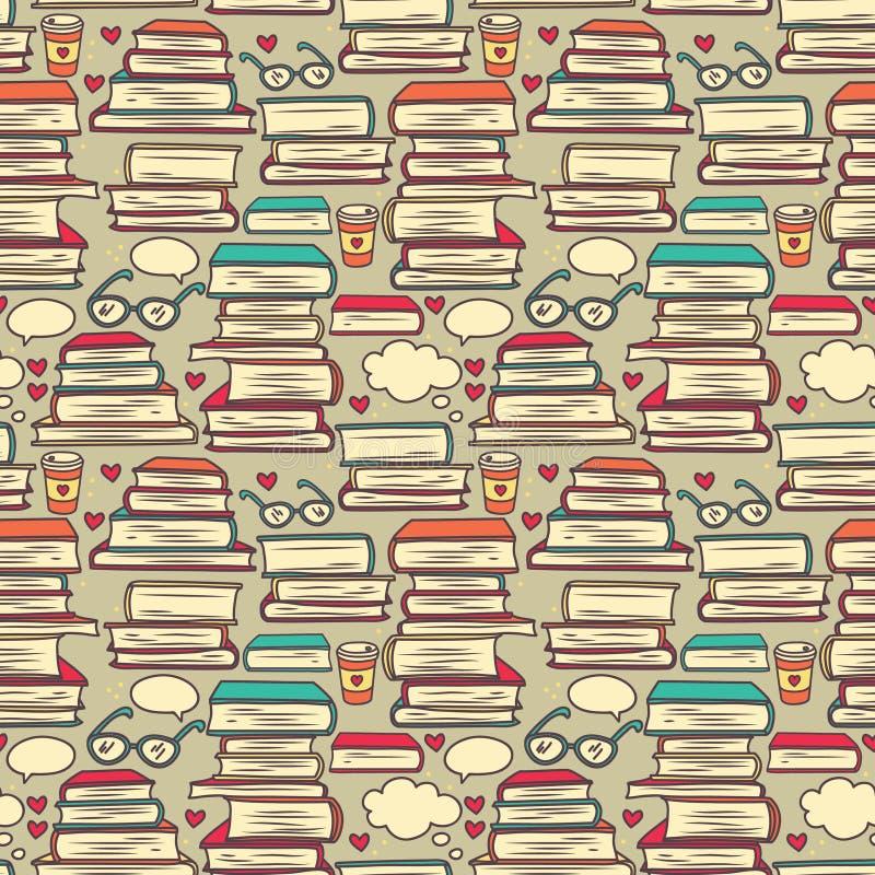 Teste padrão sem emenda com as pilhas de livros e de corações ilustração royalty free