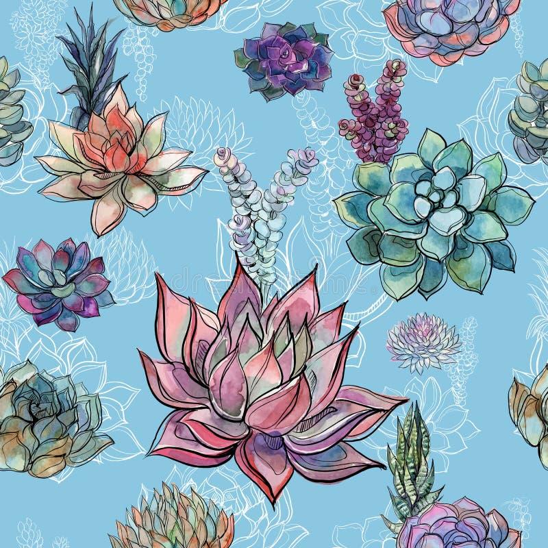 Teste padrão sem emenda com as plantas carnudas no fundo azul gráficos watercolor ilustração stock