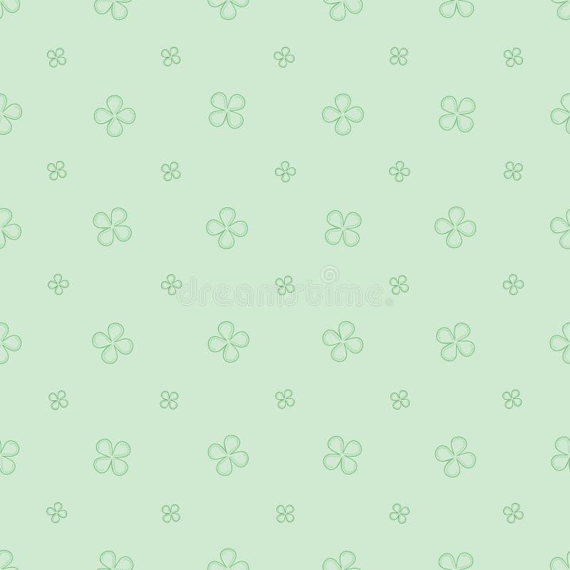 Teste padrão sem emenda com com as quatro flores das pétalas em tons verdes pasteis ilustração do vetor