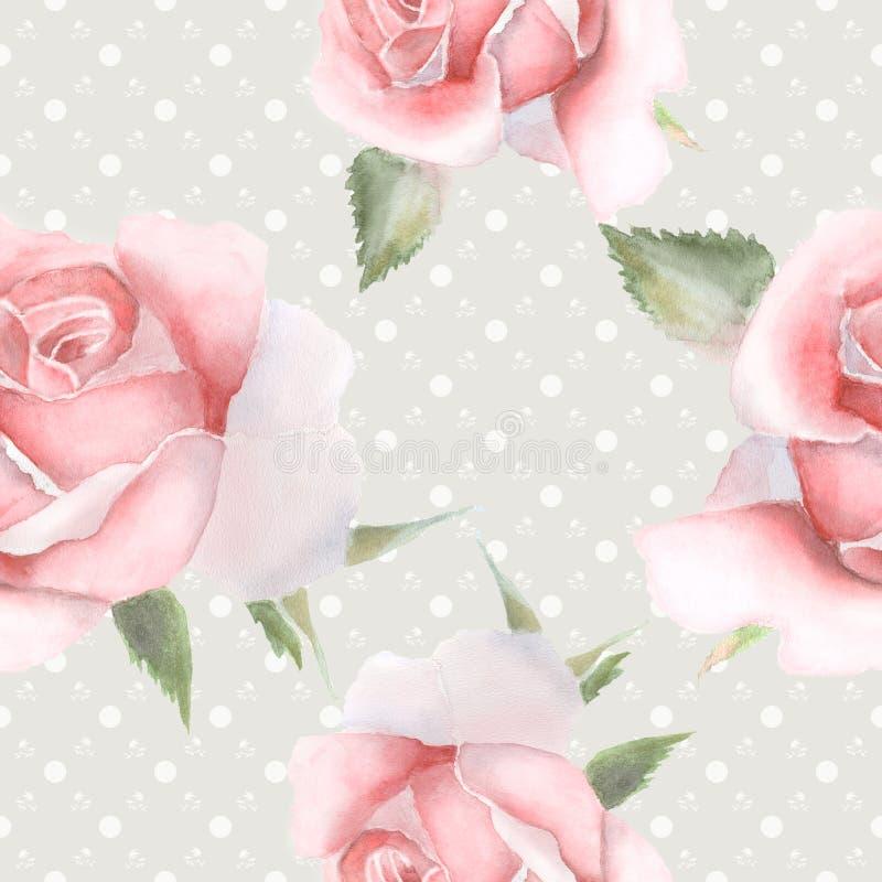 Teste padrão sem emenda com as rosas cor-de-rosa da aquarela ilustração do vetor
