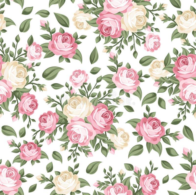 Teste padrão sem emenda com as rosas cor-de-rosa e brancas. ilustração royalty free