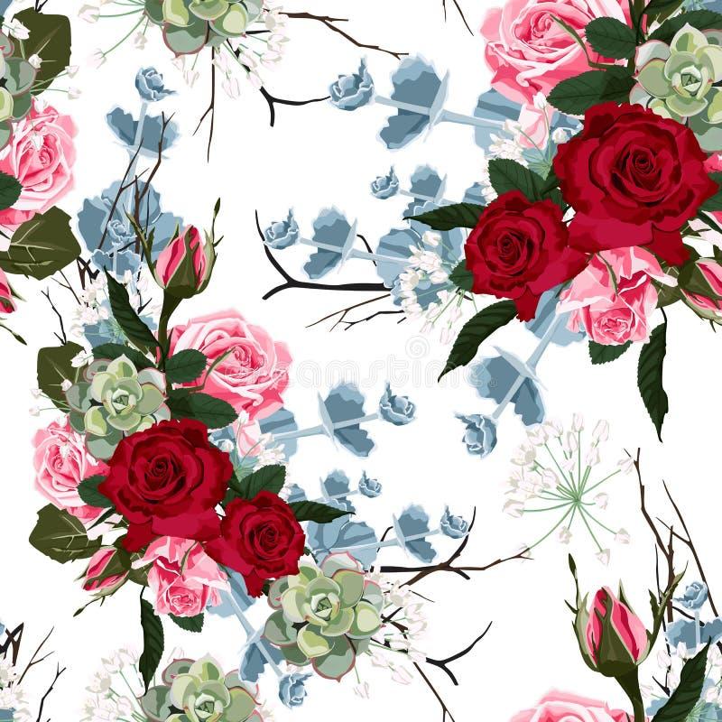 Teste padrão sem emenda com as rosas e a planta carnuda cor-de-rosa vermelhas, ilustração do vetor ilustração do vetor