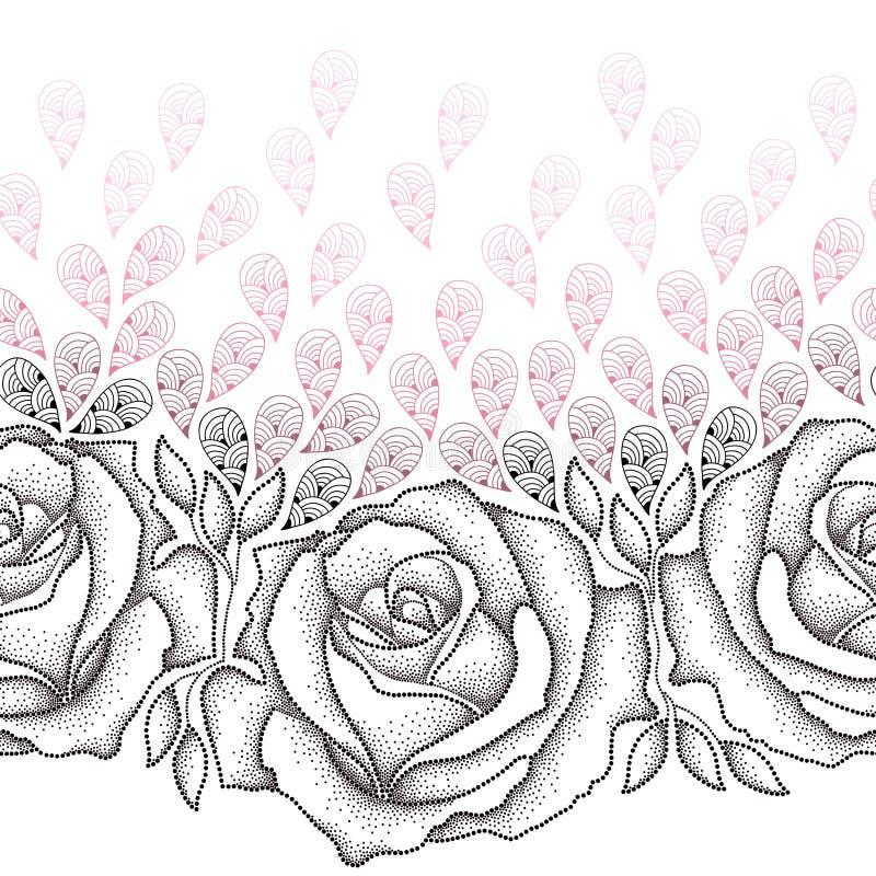 Teste padrão sem emenda com as rosas pretas pontilhadas, as folhas e as pétalas cor-de-rosa estilizadas no fundo branco ilustração stock