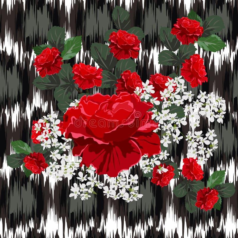 Teste padrão sem emenda com as rosas vermelhas bonitas no fundo com a ilustração do vetor