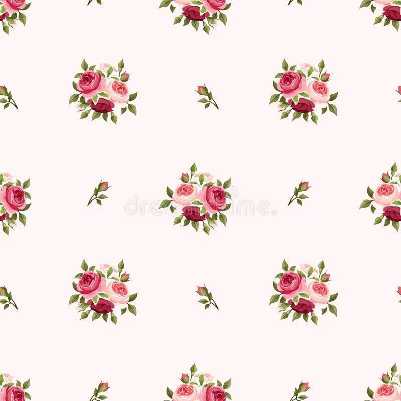 Teste padrão sem emenda com as rosas vermelhas e cor-de-rosa Ilustração do vetor ilustração stock