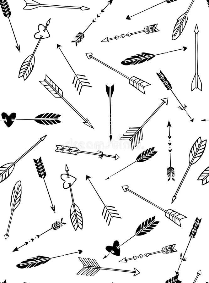 Teste padrão sem emenda com as setas tiradas mão no estilo do boho ilustração royalty free