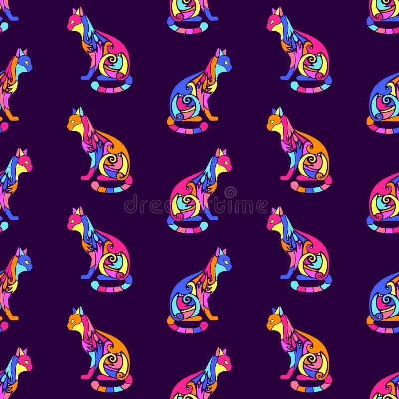 Teste padrão sem emenda com as silhuetas bonitos ornamentados decorativas do gato Textura para papéis de parede, tela, envoltório ilustração royalty free