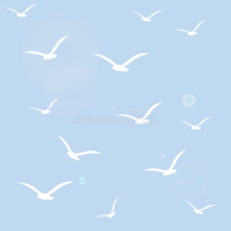 Teste padrão sem emenda com as silhuetas brancas dos pássaros ilustração do vetor