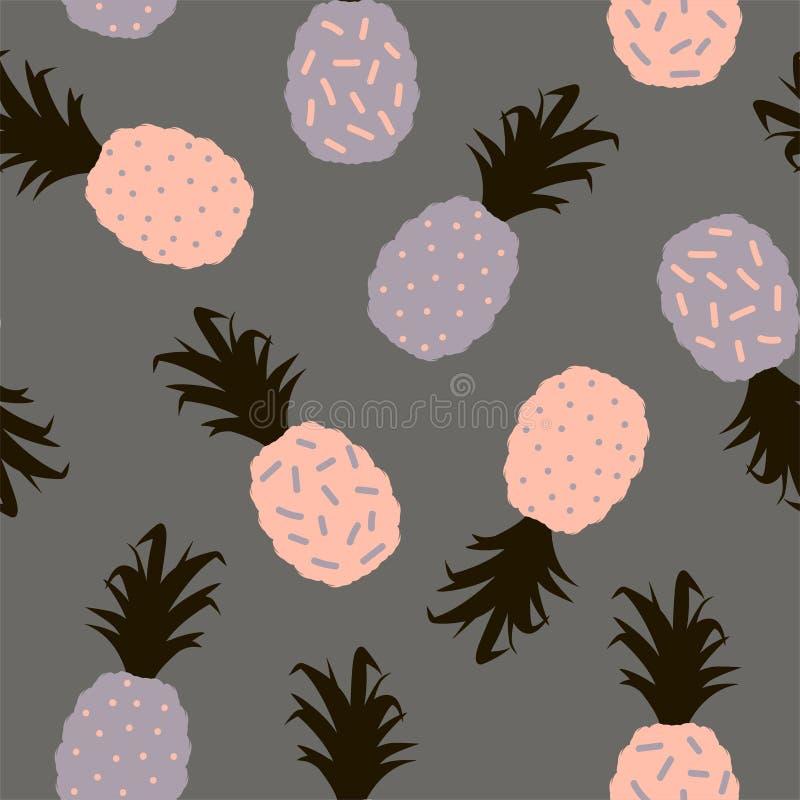 Teste padrão sem emenda com as silhuetas multi-coloridas do abacaxi em um fundo branco Vetor ilustração stock