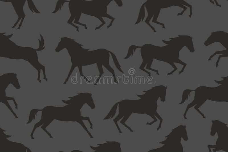 Teste padrão sem emenda com as silhuetas pretas dos cavalos ilustração royalty free