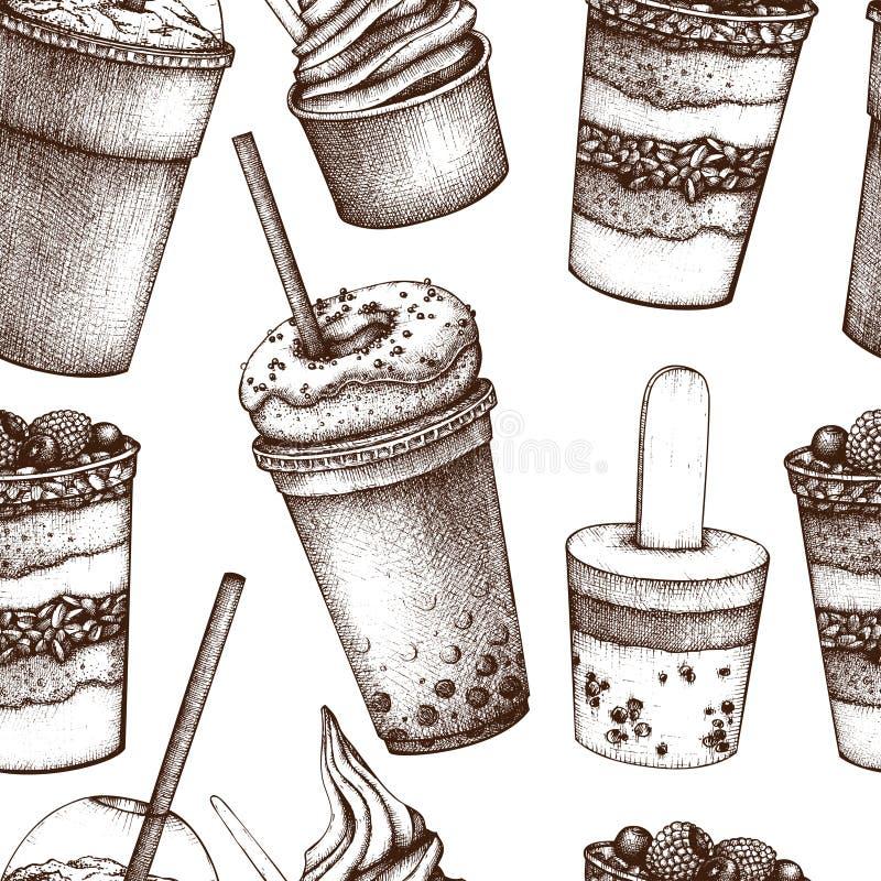 Teste padrão sem emenda com as sobremesas tiradas mão e bebidas doces Fundo do vintage do fast food com gelado, salada de fruto,  ilustração do vetor
