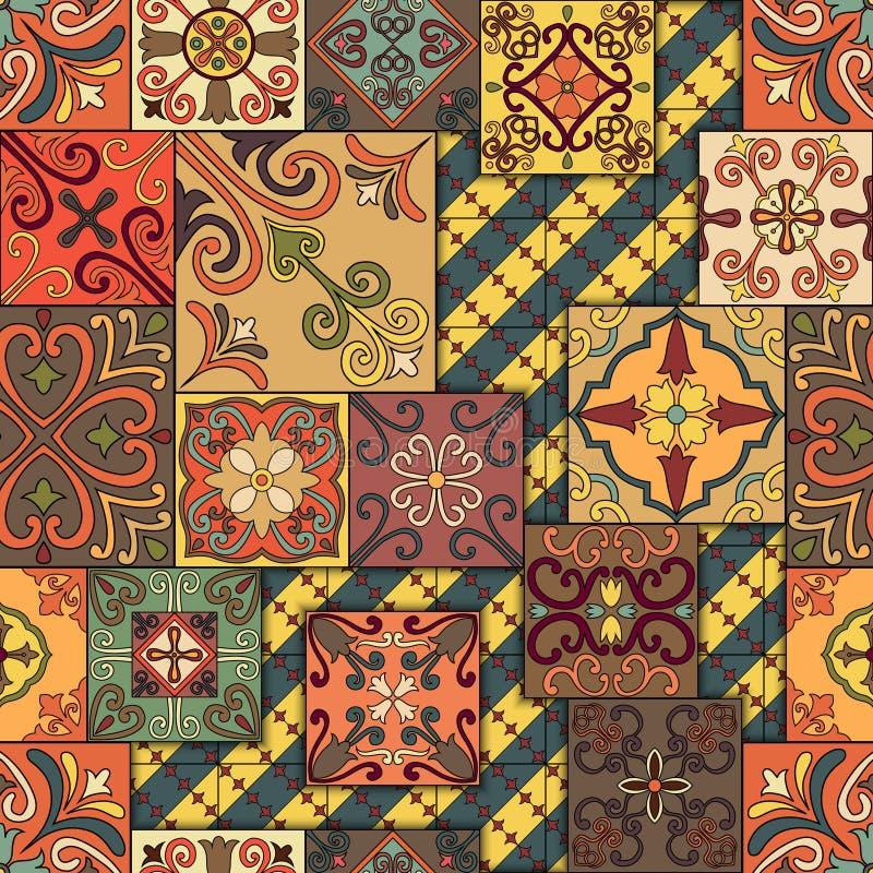 Teste padrão sem emenda com as telhas portuguesas no estilo de talavera Azulejo, marroquino, ornamento mexicanos ilustração royalty free