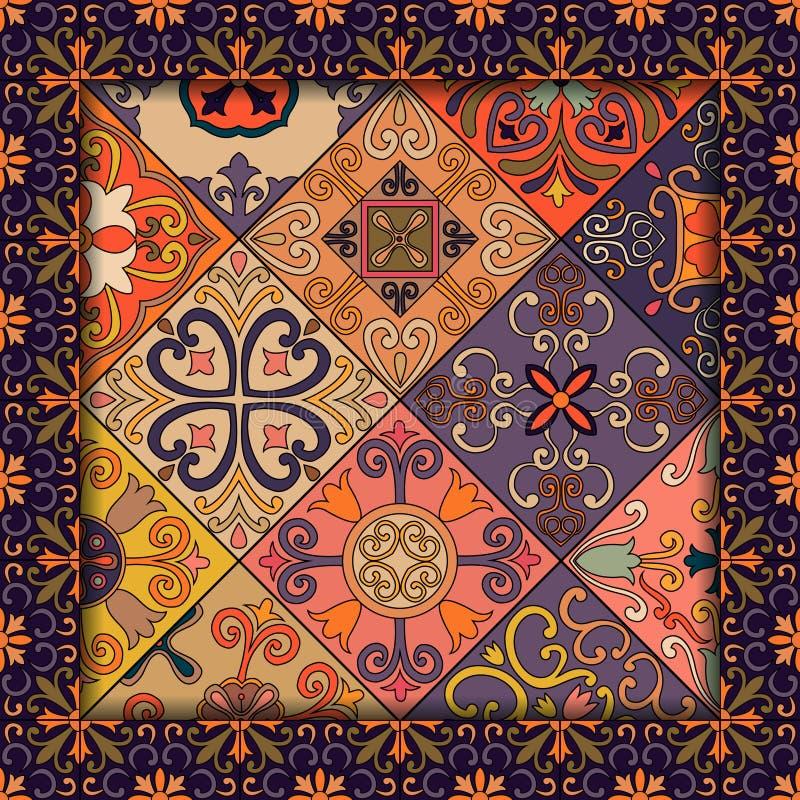 Teste padrão sem emenda com as telhas portuguesas no estilo de talavera Azulejo, marroquino, ornamento mexicanos ilustração stock