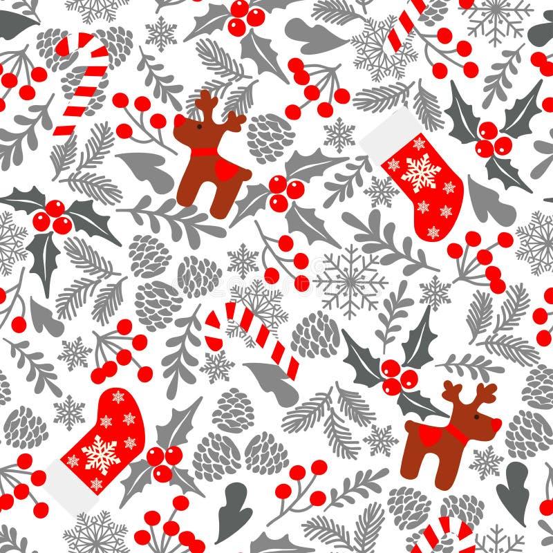 Teste padrão sem emenda com bagas do azevinho, doces do vetor do inverno, cervo, peúgas do Natal Parte da cole??o dos fundos do N ilustração royalty free