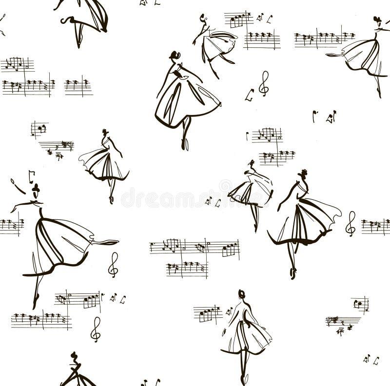 Teste padrão sem emenda com a bailarina da dança entre notas da música ilustração do vetor