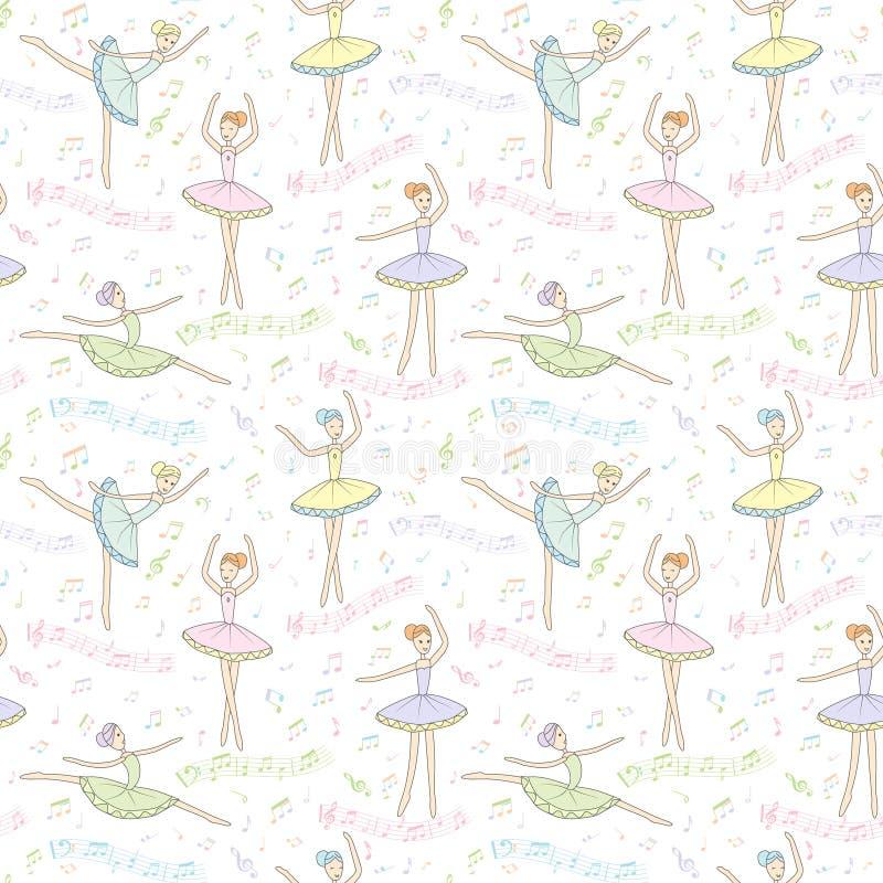 Teste padrão sem emenda com bailarinas da dança em um fundo floral Vetor ilustração stock