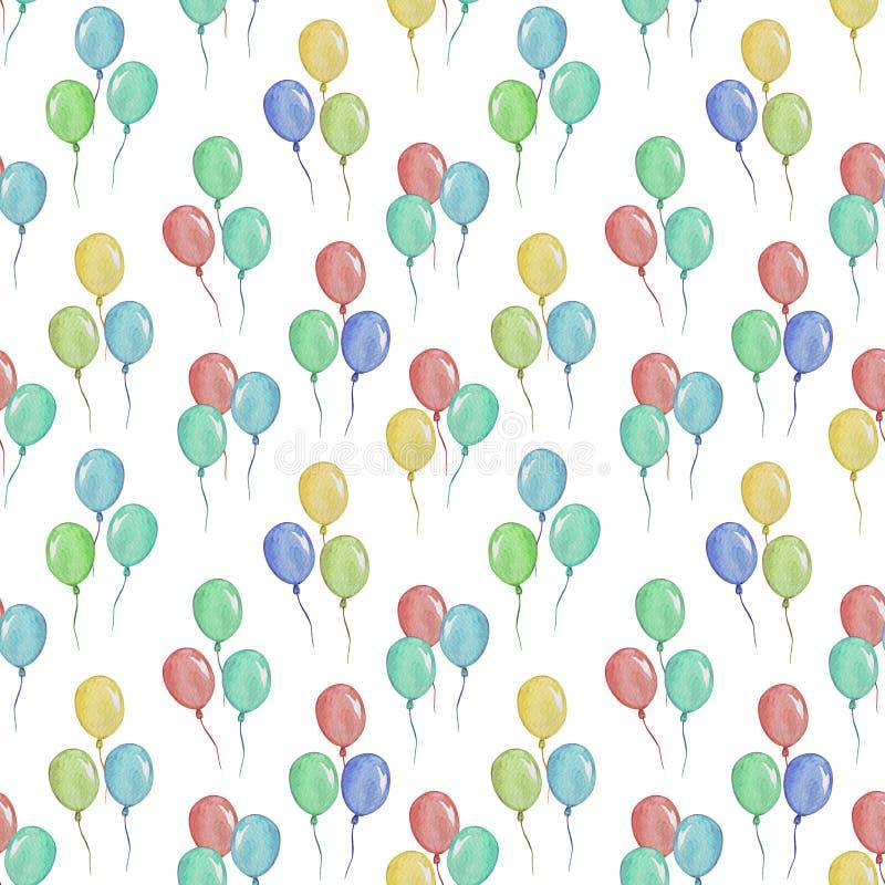 Teste padrão sem emenda com balões, ilustração da aquarela para a roupa das crianças ilustração stock