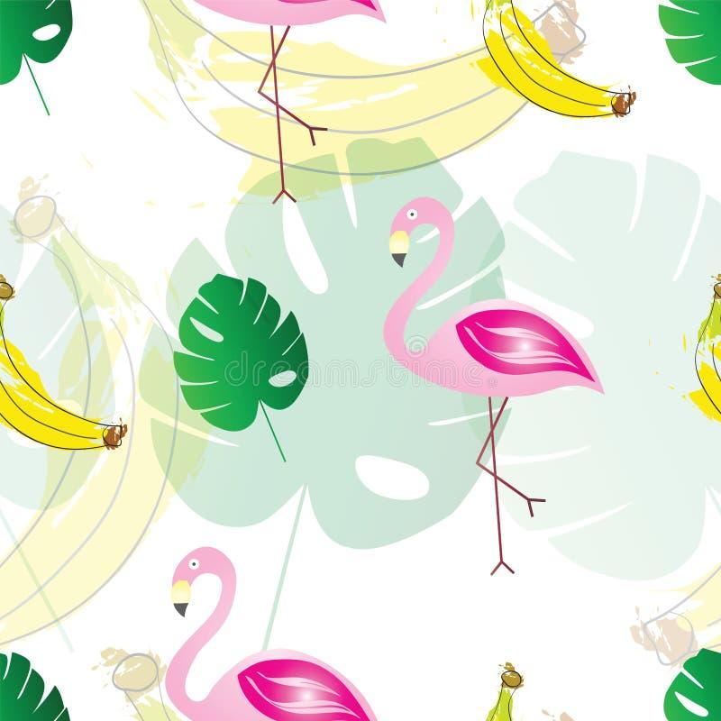 Teste padrão sem emenda com bananas dos flamingos e as folhas tropicais exóticas - tema do verão ilustração stock