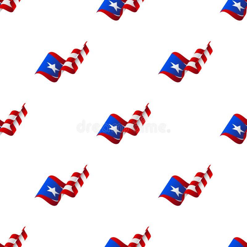 Teste padrão sem emenda com bandeira de ondulação Bandeira de Puerto Rico Ilustração do vetor ilustração royalty free