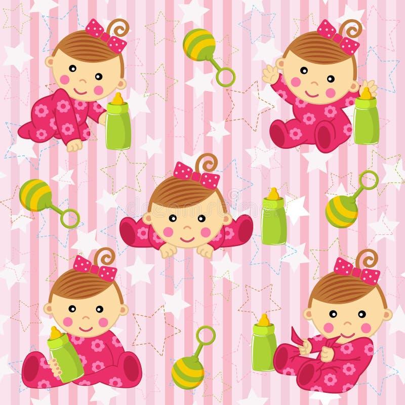 Teste padrão sem emenda com bebê - ilustração do vetor