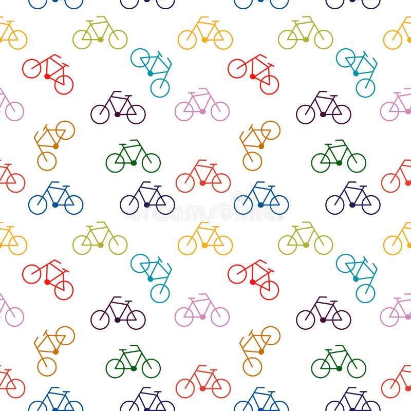 Teste padrão sem emenda com bicicletas brilhantes Projeto da forma Transporte de Eco ilustração stock