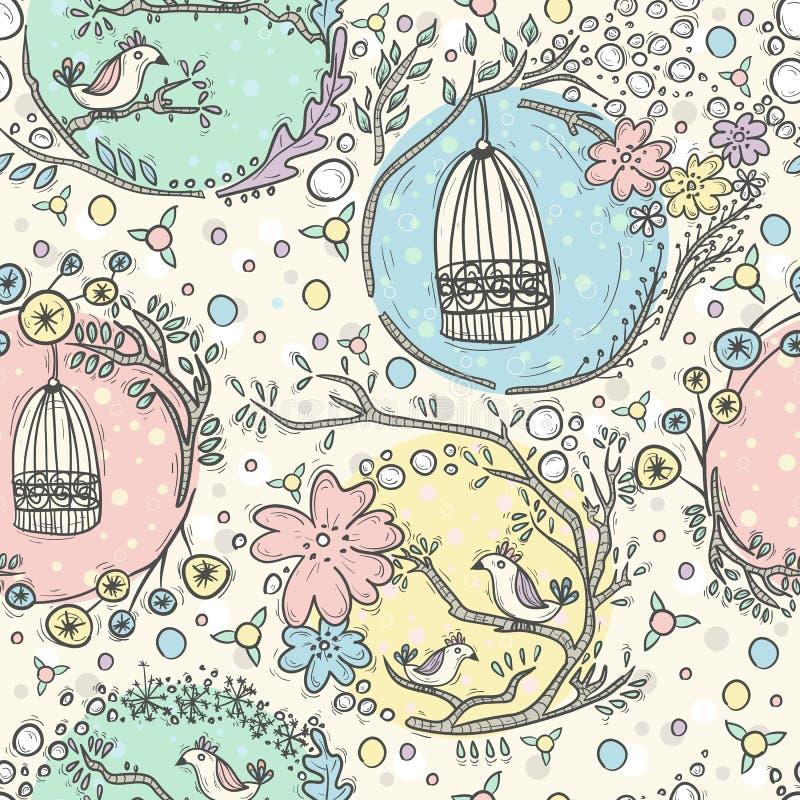 Teste padrão sem emenda com birdcages, flores e pássaros ilustração stock