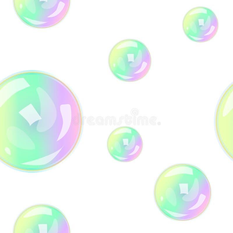 Teste padrão sem emenda com bolhas de sabão ilustração royalty free